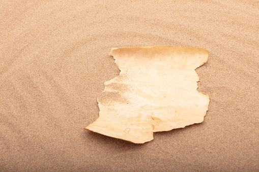 해변에서 빈 양피지 메시지 갈색에 대한 스톡 사진 및 기타 이미지