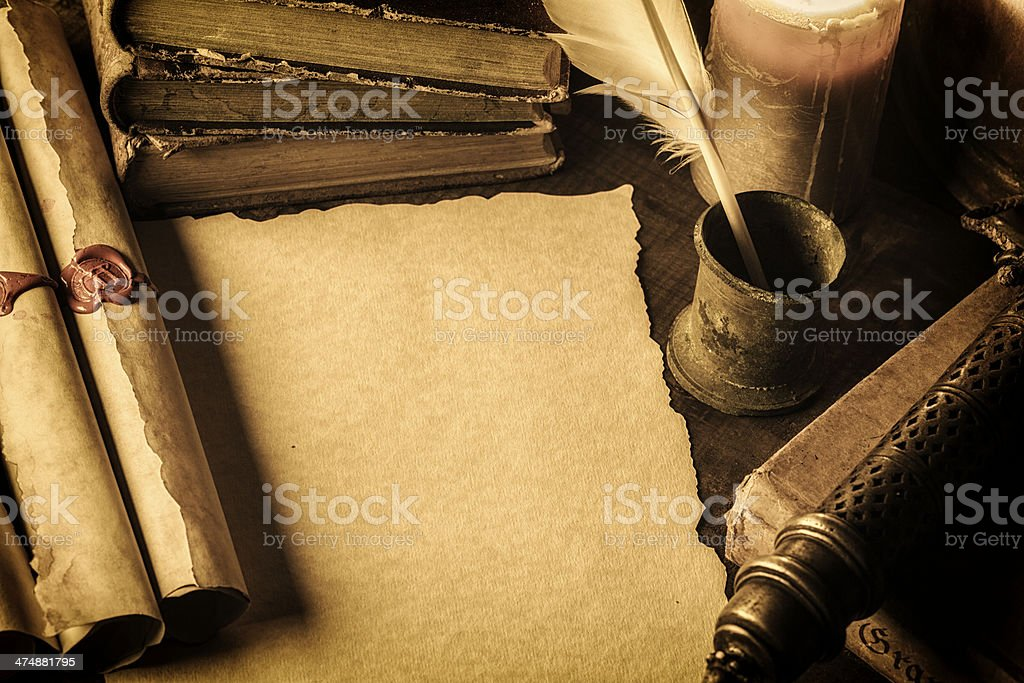 Blank parchment stock photo