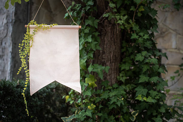 blank party flag with ivy – Foto