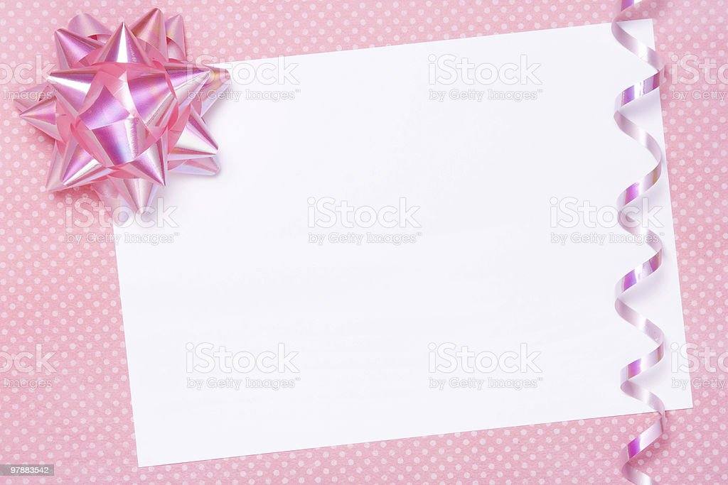 Blank party invite or gift tag royalty-free stock photo