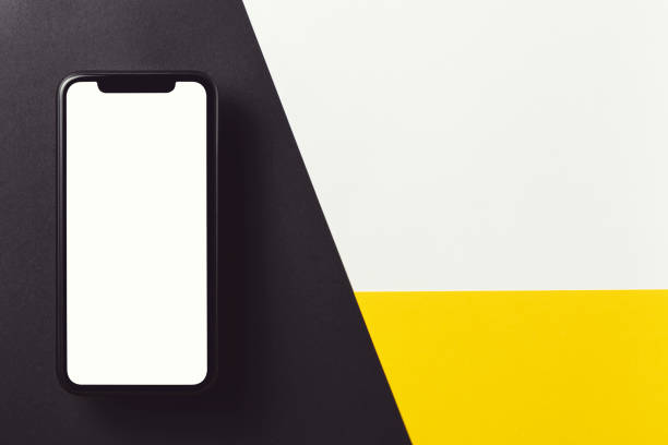 Blank phone screen template on black, yellow and white background. stock photo