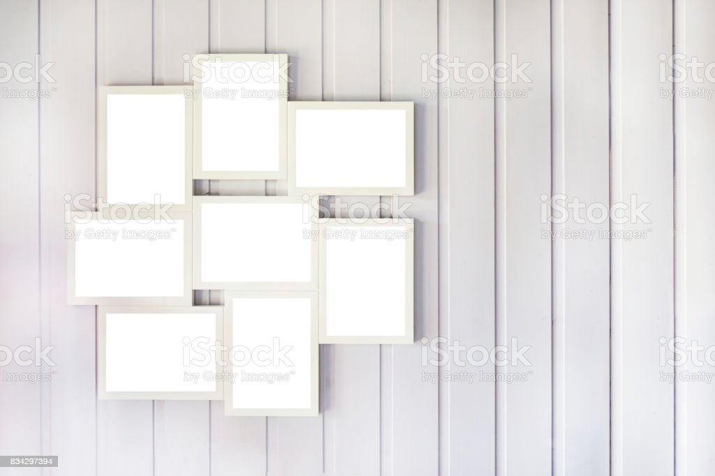 Blank Photo Frame Collage On The Wooden Wall Interior Layout Stock ...