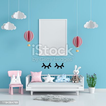 619975932 istock photo Blank photo frame for mockup in blue child room, 3D rendering 1194364769