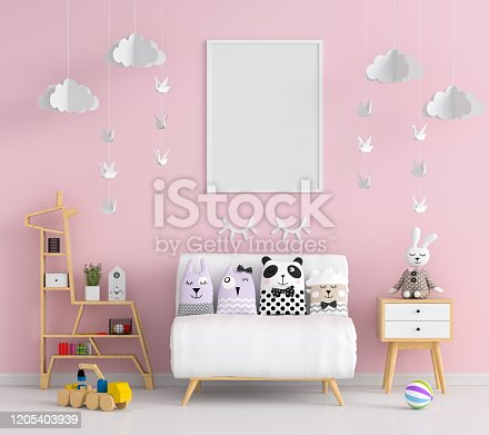 istock Blank photo frame for mockup in pink child room 1205403939