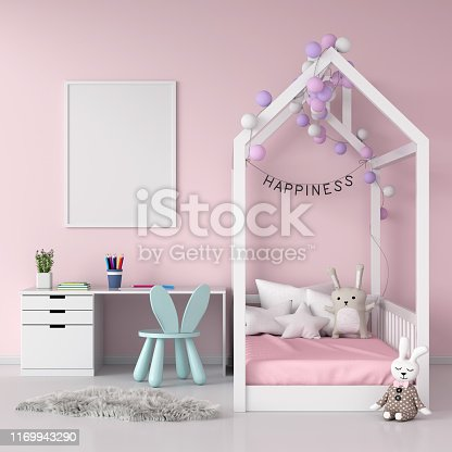 619975932 istock photo Blank photo frame on wall for mockup in child room, 3D rendering 1169943290