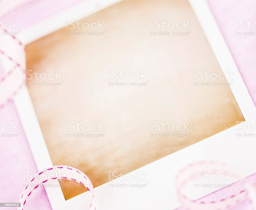 Blank Photo Frame with Pink Ribbon royalty-free stock photo