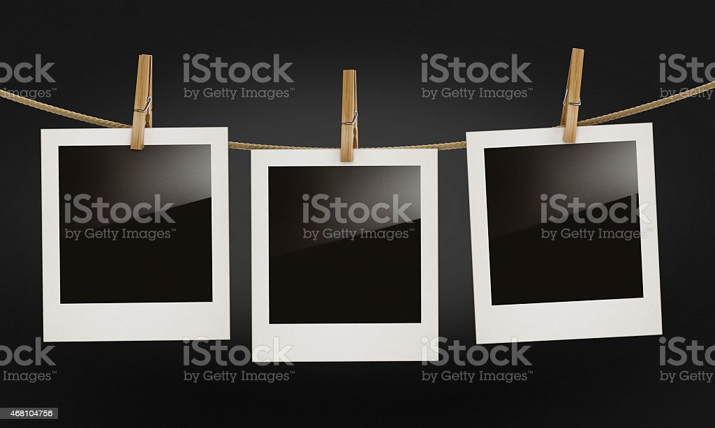 Blank photo frames with reflection isolated on black stock photo
