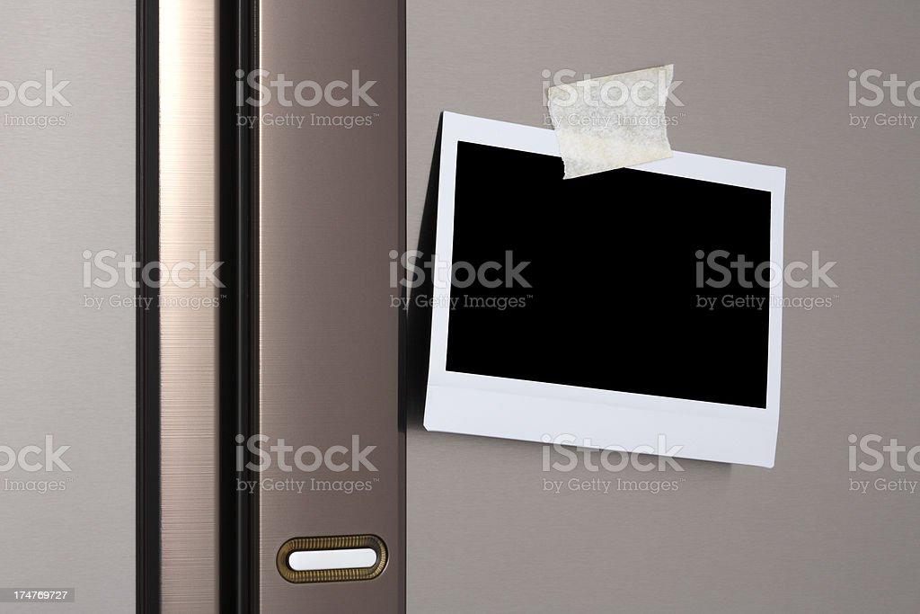 Blank photo on Refrigerator Door stock photo