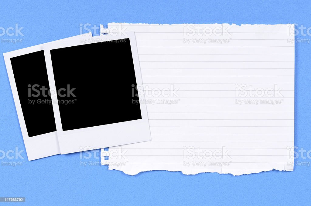 Blank photo prints with torn writing paper royalty-free stock photo