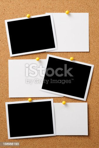 istock Blank photo with memo pinned on cork board 158988193