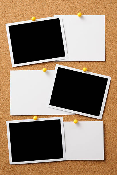 blank photo with memo pinned on cork board - bulletin board stock pictures, royalty-free photos & images