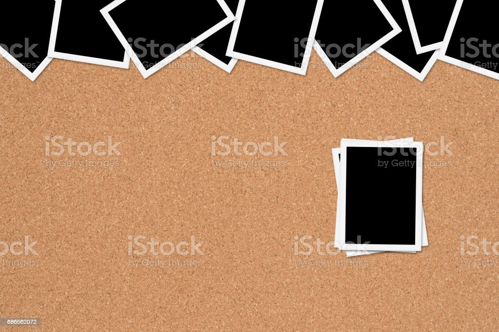 Blank photos on Corkboard Background royalty-free stock photo