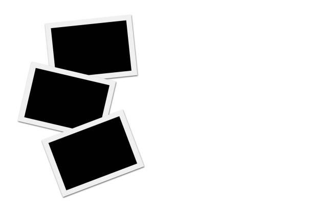 blank photos on white background - polaroid foto e immagini stock