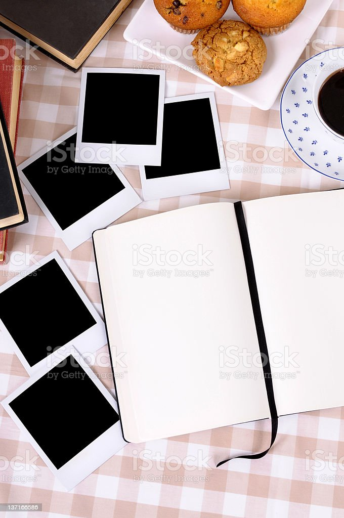 Blank photos with coffee and writing book royalty-free stock photo