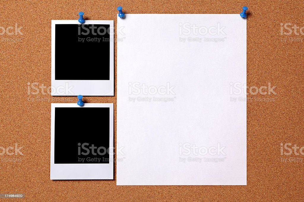 Blank photos with paper poster stock photo