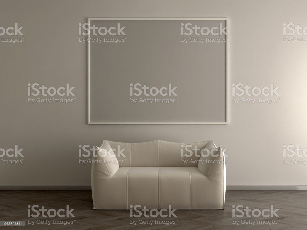 Blank picture frame in empty room - 3d render - Royalty-free Apartment Stock Photo