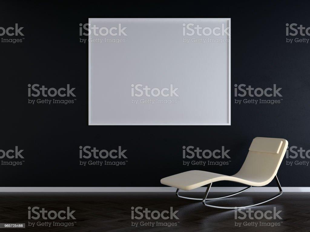 Blank picture frame in empty room - 3d render - Стоковые фото Архитектура роялти-фри
