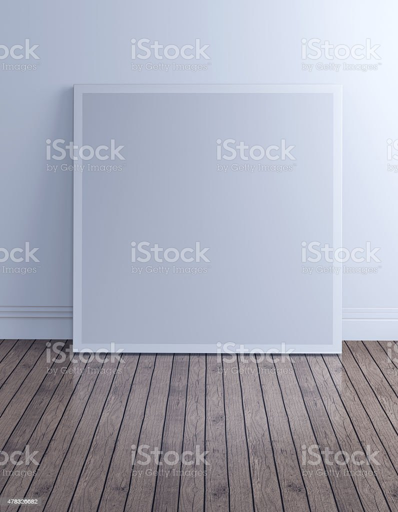 blank picture frame  in loft room with clipping path stock photo