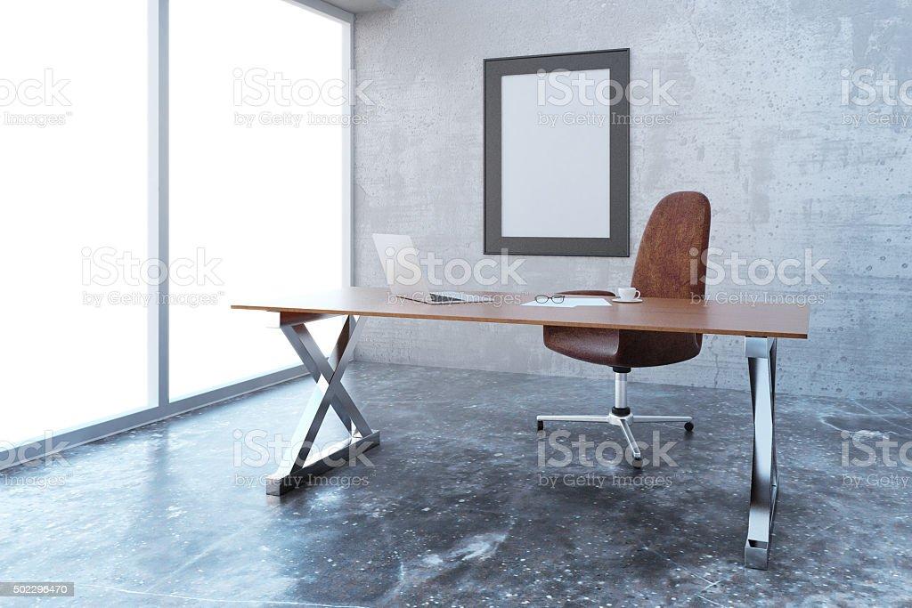büro im loft stil tisch leere bilderrahmen auf moderne loftstil im büro mit möbeln lizenzfreies stockfoto auf moderne loftstil im mit möbeln stock