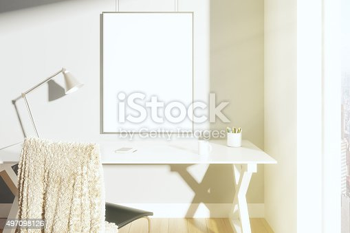 istock Blank picture frame on the wall in sunny room 497098126