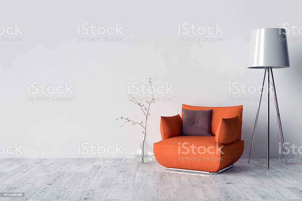 Blank Picture frame on the wall stock photo