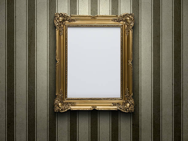 Blank picture frame Blank gold picture frame at grunge striped wall with copy space wallpaper sample stock pictures, royalty-free photos & images