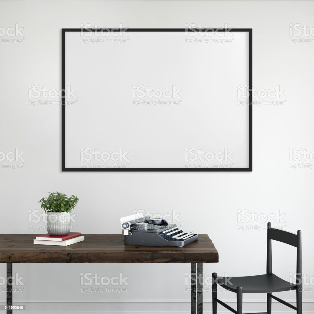 Blank Picture Frame Template Interior Wall Stock Photo