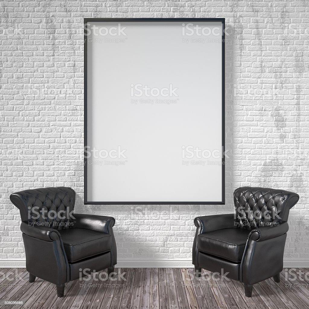 Leere Bilderrahmen Mit Schwarzen Sesseln Modell Poster 3 D ...