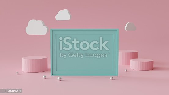 istock Blank picture frame with cylinder podium. Abstract geometric background for display or mockup. 3D rendering. 1145004025