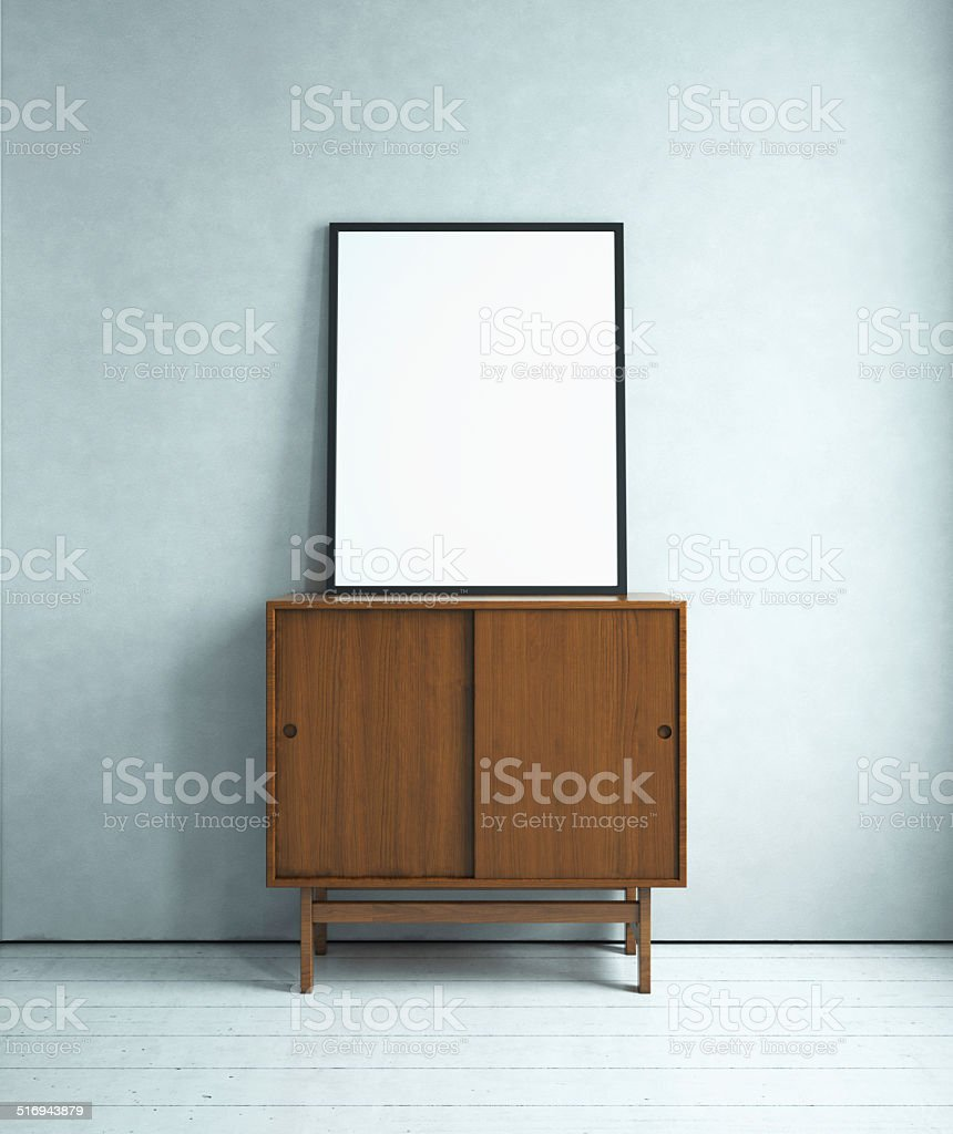 Blank picture on the cabinet stock photo