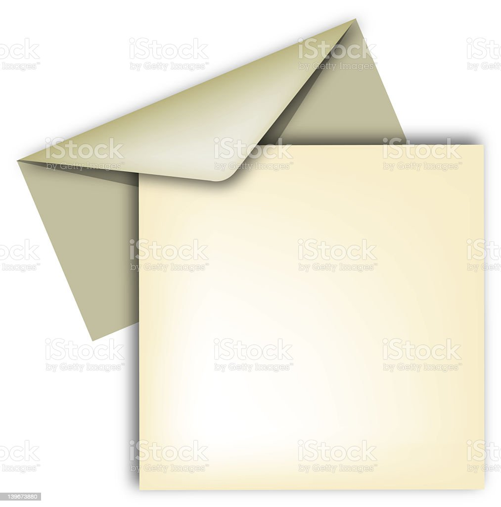 A blank piece of aged paper and a envelope stock photo