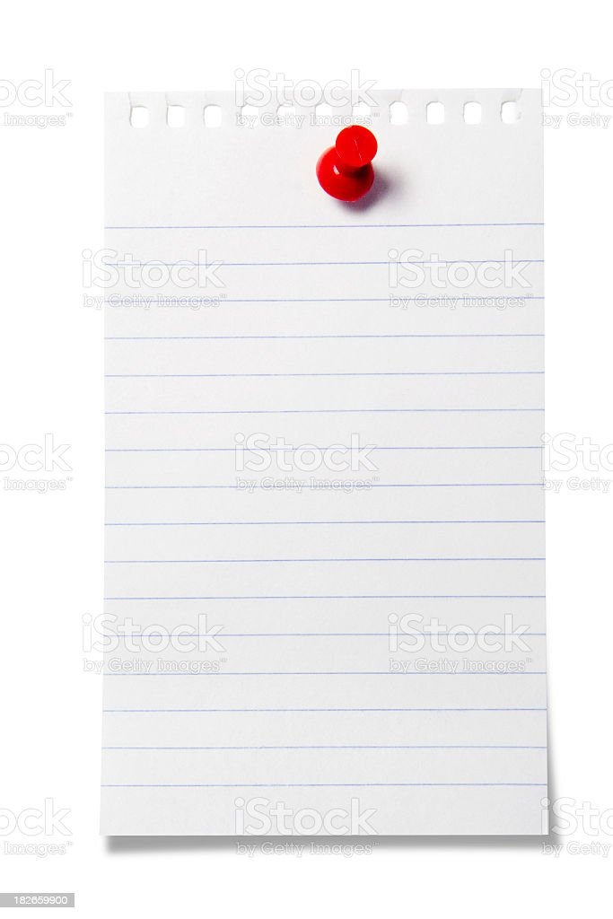 Blank piece of note paper stuck to the wall with a push pin royalty-free stock photo