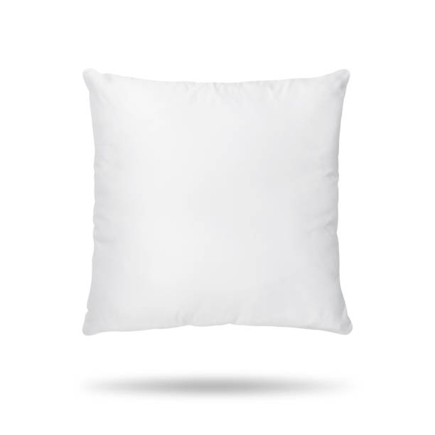 blank pillow isolated on white background. empty cushion for your design. clipping paths object. - подушка стоковые фото и изображения