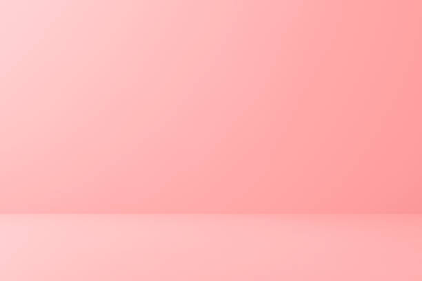 Blank pink display on floor background with minimal style. Blank stand for showing product. 3D rendering. stock photo