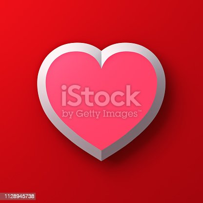 istock Blank pink heart with shadow on red color wall background for valentine's day card background 3D rendering 1128945738