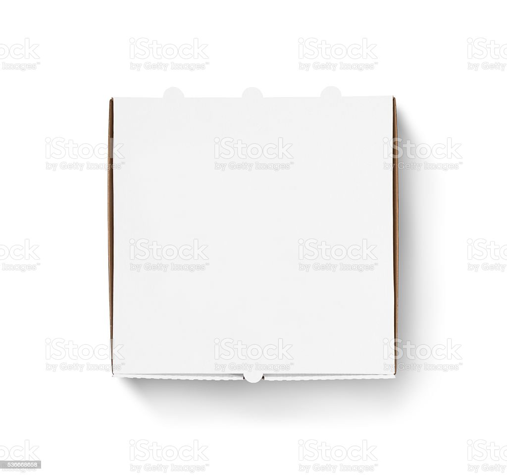 Blank pizza box design mock up top view isolated stock photo