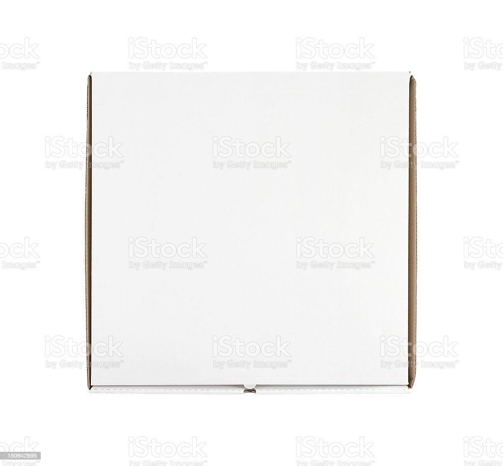 Blank pizza box with copy space stock photo