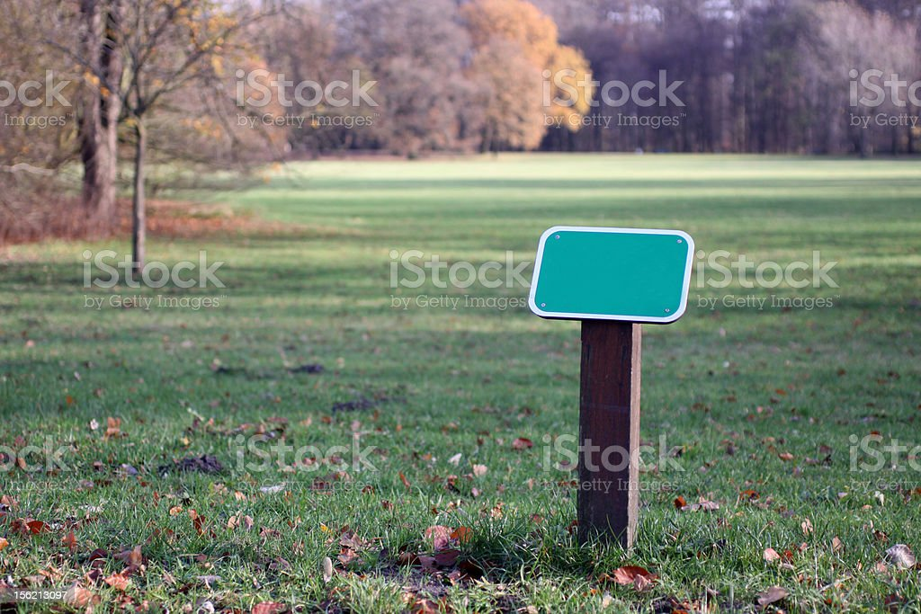 Blank plank sign on grass field in a forest stock photo