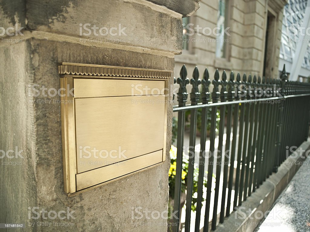 Blank plaque on an important building stock photo