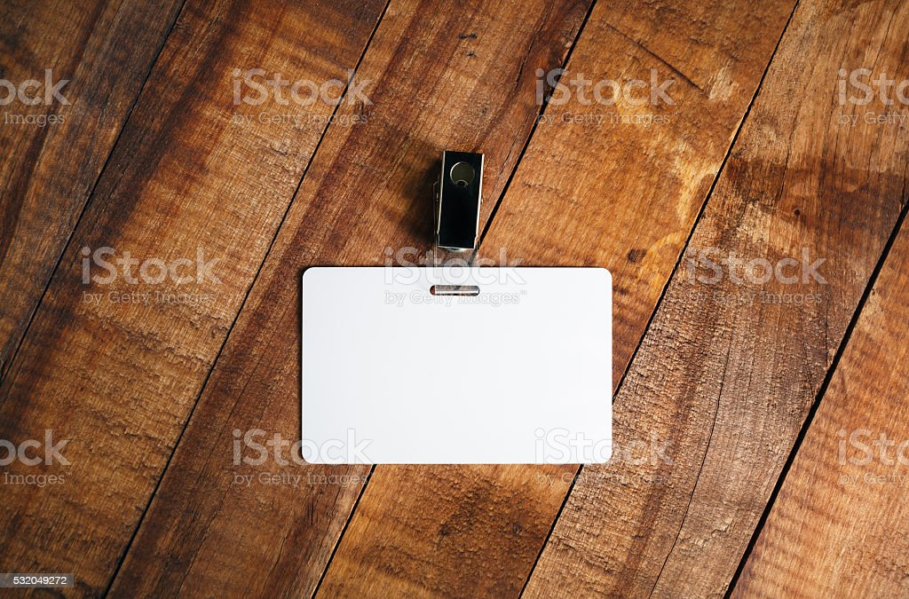 Blank plastic badge stock photo