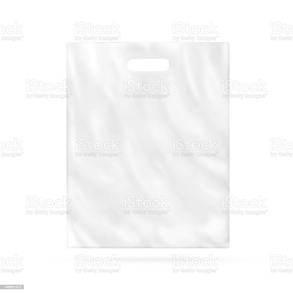 Blank plastic bag mock up isolated. stock photo