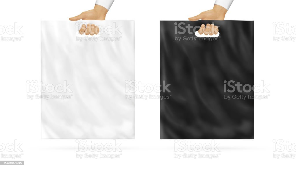 Blank plastic bag mock up set holding in hand stock photo