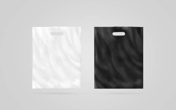 Blank plastic bag mock up set isolated, black and white stock photo
