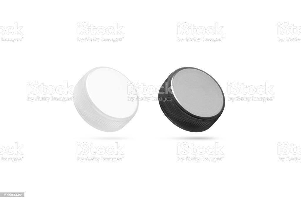 Blank plastic bottle caps mock up set isolated, black white stock photo