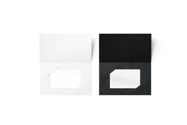Blank plastic card mock up inside black and clear booklet stock photo