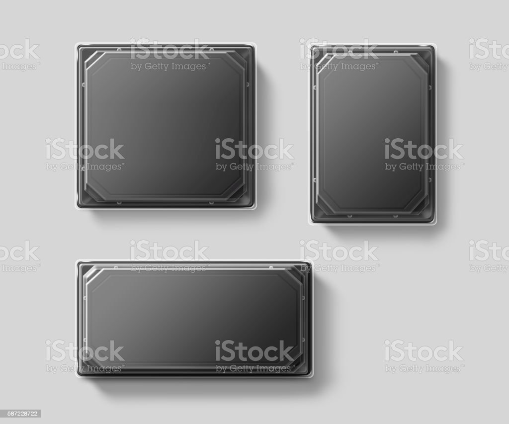 Blank plastic disposable food container mockup set, transparent lid, isolated stock photo