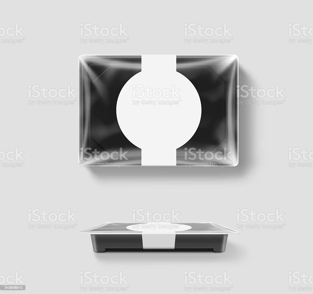 Blank plastic disposable food container mockup, transparent foil lid stock photo