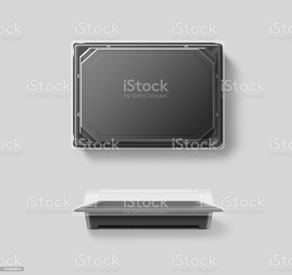 Blank plastic disposable food container mockup, transparent lid, isolated stock photo
