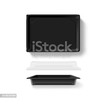 istock Blank plastic opened disposable food container mockup, transparent lid 543836568