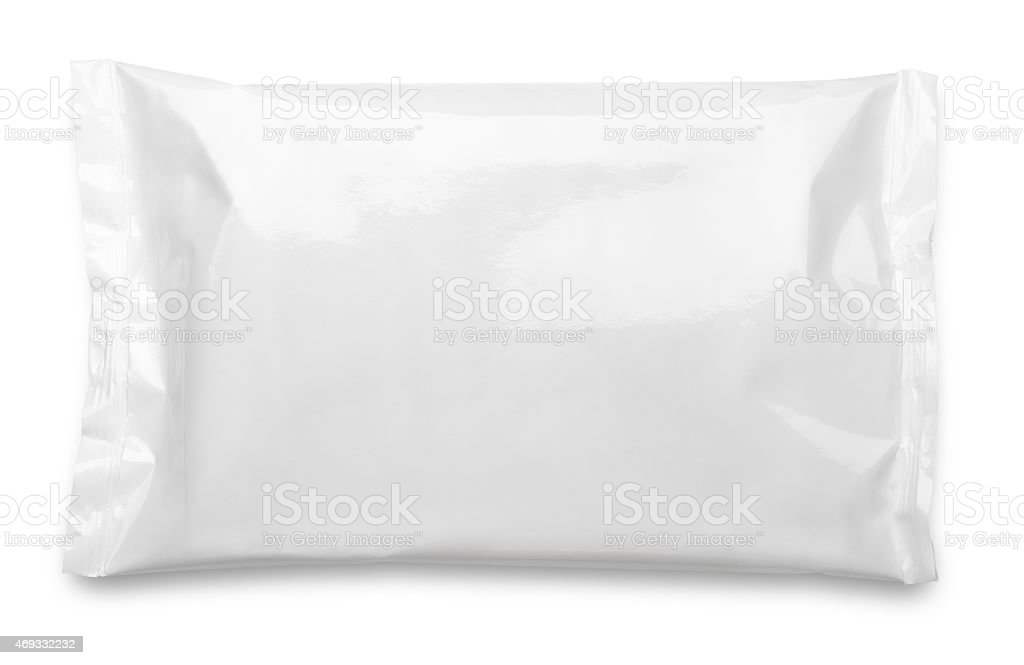 Blank plastic pouch food packaging on white stock photo